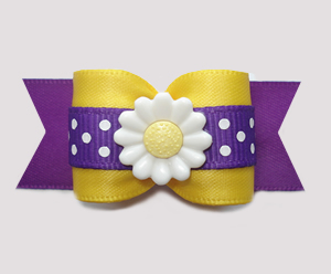 "#A7294 - 7/8"" Dog Bow - Daisy Days, Sunny Yellow/Purple"