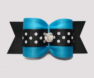 "#A7302- 7/8"" Dog Bow- Lovely Blue/Black Satin w/Dots, Rhinestone"