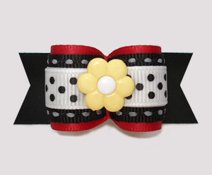 "#A7303 - 7/8"" Dog Bow - Delightful Daisy, Red/Black/White"