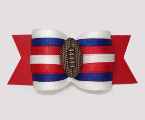 "#A7310 - 7/8"" Dog Bow - Sporty Football, Red/White/Blue"