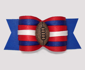 "#A7311 - 7/8"" Dog Bow - Sporty Football, Red/Blue"