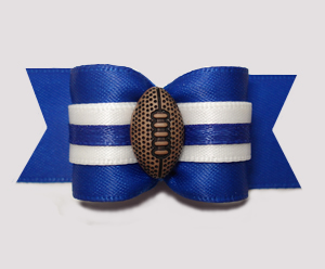 "#A7312 - 7/8"" Dog Bow - Sporty Football, Blue/White"