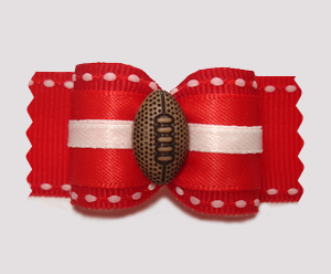 "#A7313 - 7/8"" Dog Bow - Sporty Football, Red/White"
