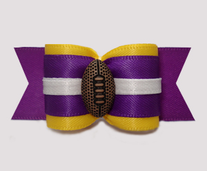 "#A7314 - 7/8"" Dog Bow - Sporty Football, Yellow/Purple"