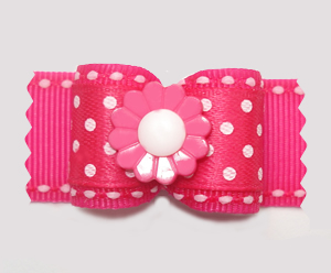 "#A7315 - 7/8"" Dog Bow - Perfectly Pretty in Pink, Dots 'n Daisy"