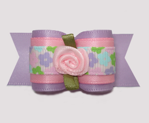 "#A7317 - 7/8"" Dog Bow - Pretty Pastel Flowers, Lavender/Pink"