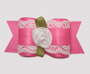 "#A7318 - 7/8"" Dog Bow - Gorgeous Victorian, Lace/Pink Satin"