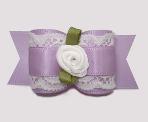 "#A7319 - 7/8"" Dog Bow - Gorgeous Victorian, Lace/Lavender Satin"