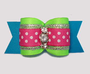 "#A7321 - 7/8"" Dog Bow - Beautiful Brights w/Sparkle, Rhinestones"