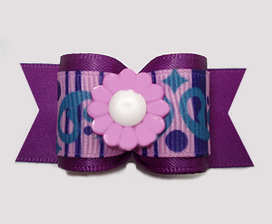 "#A7322 - 7/8"" Dog Bow - Delightful Swirly Daisy Days, Purple"