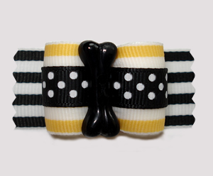 "#A7323 - 7/8"" Dog Bow - Good Dog Bone, Yellow/Black Stripes/Dots"
