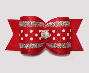 "#A7325 - 7/8"" Dog Bow - Red/Silver with Sparkle & Sprinkle Dots"