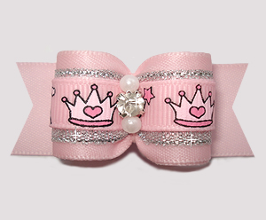 "#A7327 - 7/8"" Dog Bow - Perfect Princess, Pink/Silver w/Crowns"