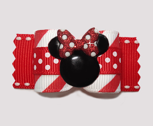 "#A7331 - 7/8"" Dog Bow - Candy Cane Stripes 'n Dots, Minnie Mouse"