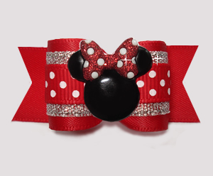 "#A7333- 7/8"" Dog Bow- Red w/Sparkle & Sprinkle Dot, Minnie Mouse"