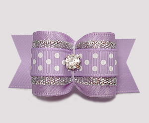 "#A7340- 7/8"" Dog Bow- Lavender/Silver w/Sparkle & Sprinkle Dots"