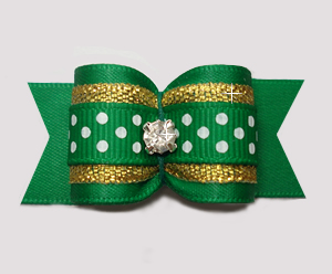 "#A7343 - 7/8"" Dog Bow - Green/Gold with Sparkle & Sprinkle Dots"