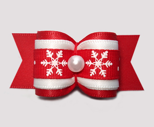 "#A7344 - 7/8"" Dog Bow - Let It Snow, Winter Red/White"