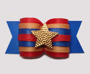 "#A7346 - 7/8"" Dog Bow - Cowboy/Cowgirl Blue/Red, Gold Star"