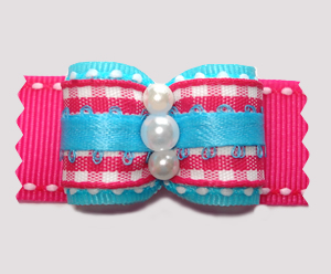 "#A7347 - 7/8"" Dog Bow - Candy Floss Blue/Pink with Gingham"