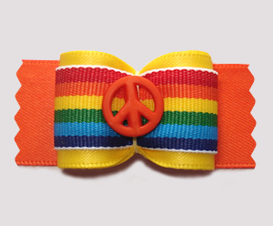 "#A7348 - 7/8"" Dog Bow - Bright Rainbow Stripes, Peace Everyone!"