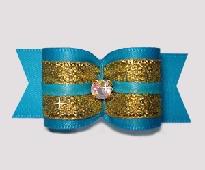 "#A7350 - 7/8"" Dog Bow - Blue/Sparkly Gold with Rhinestone"
