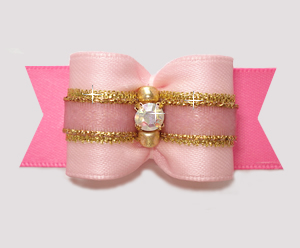 "#A7351 - 7/8"" Dog Bow - Gorgeous Princess Pinks/Gold, Rhinestone"