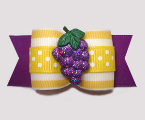 "#A7352 - 7/8"" Dog Bow - Groovy Glitter Grapes, Yellow/Purple"