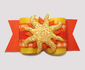 "#A7357- 7/8"" Dog Bow- Sizzlin' Summer Sun, Vibrant Orange/Yellow"