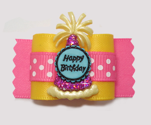 "#A7358 - 7/8"" Dog Bow - ""It's My Party"" Sweetheart Pink Birthday"