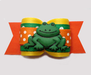 "#A7360 - 7/8"" Dog Bow - Little Garden Froggie, Yellow/Orange"