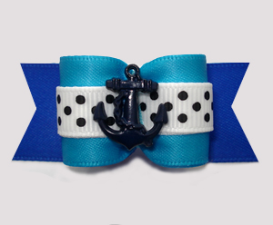 "#A7368 - 7/8"" Dog Bow - Ahoy! Nautical Blues with Anchor"