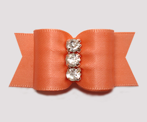 "#A7369 - 7/8"" Dog Bow - Perfect Peach Satin, Rhinestones"