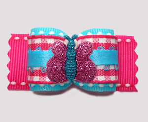 "#A7375 - 7/8"" Dog Bow - Candy Floss Blue/Pink, Glitter Butterfly"