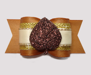 "#A7383 - 7/8"" Dog Bow - Gorgeous Autumn Glitter Leaf w/Gold"