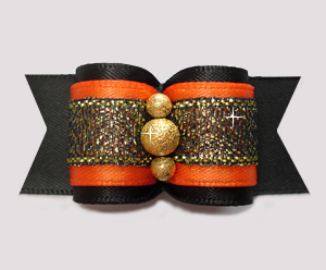 "#A7384 - 7/8"" Dog Bow - Autumn Orange/Midnight Black Shimmer"