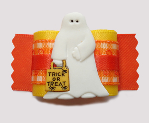 "#A7385 - 7/8"" Dog Bow - Trick or Treat! Friendly Ghost"