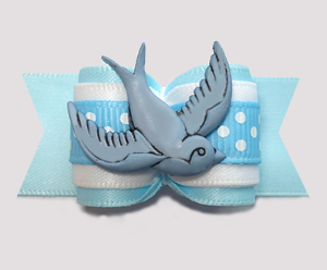 "#A7388 - 7/8"" Dog Bow - Peaceful Dove, Blue/White"