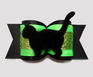 "#A7389 - 7/8"" Dog Bow - Magical Midnight Black Cat w/Glitter"