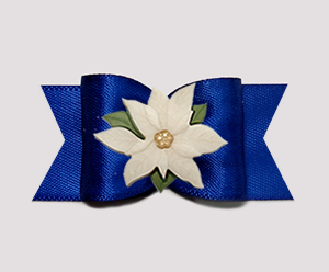 "#A7402 - 7/8"" Dog Bow - Gorgeous Regal Blue, Ivory Poinsettia"