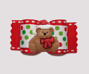 "#A7403 - 7/8"" Dog Bow - Candy Cane Dots on Red, Christmas Teddy"