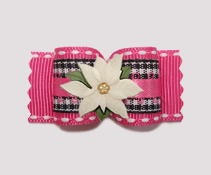 "#A7405 - 7/8"" Dog Bow - Pretty Gingham, Pink w/ Ivory Poinsettia"