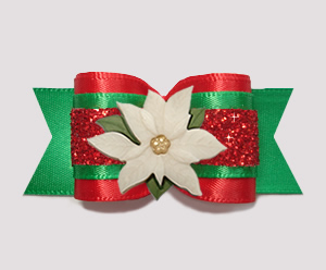 "#A7408 - 7/8"" Dog Bow - Fancy Festive, Ivory Poinsettia"
