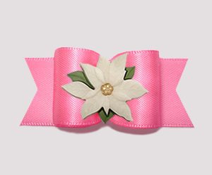 "#A7410 - 7/8"" Dog Bow - Gorgeous Perfect Pink, Ivory Poinsettia"