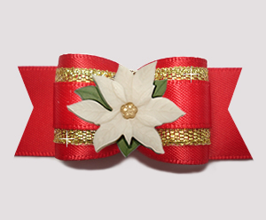 "#A7411 - 7/8"" Dog Bow - Beautiful Red/Gold, Ivory Poinsettia"