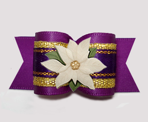 "#A7413 - 7/8"" Dog Bow - Gorgeous Regal Purple/Gold, Poinsettia"