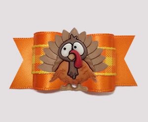 "#A7415 - 7/8"" Dog Bow - Thanksgiving Turkey, Autumn Plaid"