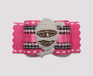 "#A7418 - 7/8"" Dog Bow - I Want My Mummy! Pink w/Gingham"