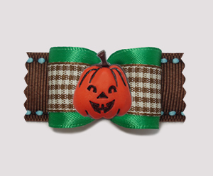 "#A7419 - 7/8"" Dog Bow - Charming Gingham, Autumn Pumpkin"