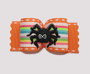 "#A7420 - 7/8"" Dog Bow - Fun Stripes, Vibrant Orange with Spider"